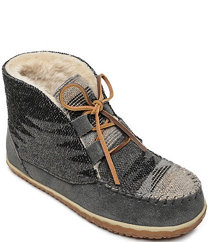 Minnetonka Torrey Tribal Knit Lace Up Booties
