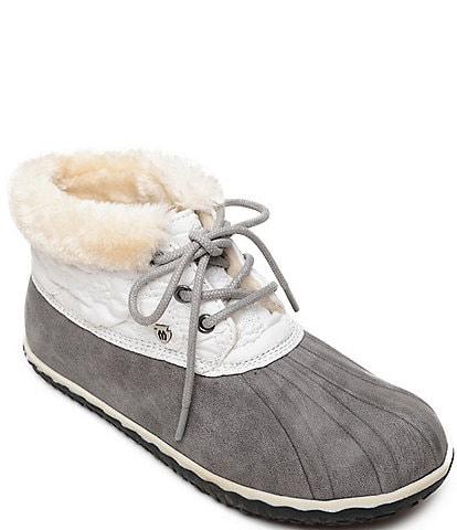Minnetonka Women's Tega Water-Resistant Faux Fur Trim Ankle Booties