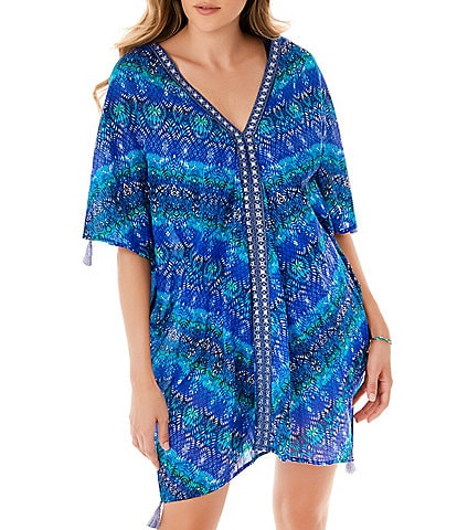 Miraclesuit Blue Curacao V-Neck Short Sleeve Caftan Swimsuit Cover Up