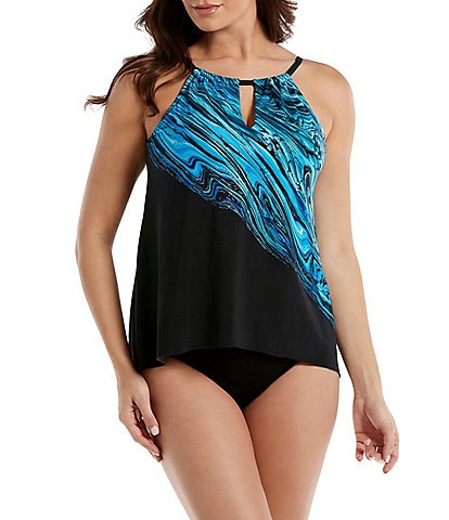 da90ff720e Miraclesuit Peephole Printed Tankini Swimsuit Top and Basic Bikini Swimsuit  Bottom