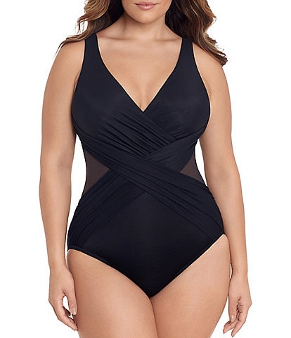 Miraclesuit Plus Size Illusionist Crossover One Piece Swimsuit