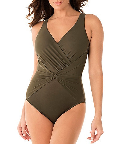 Miraclesuit Rock Solid Twister Body Shaping One Piece Swimsuit