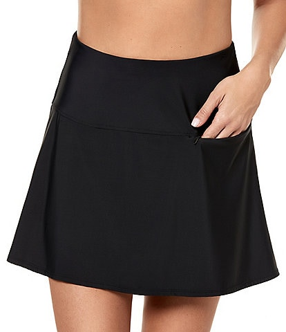 Miraclesuit Solid Fit and Flare Skirted with Pocket Swimsuit Bottom