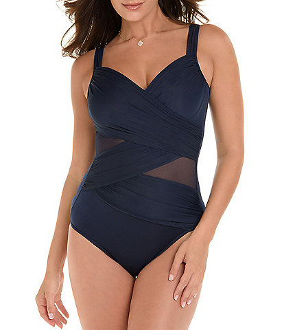Miraclesuit Solid Madero Mesh Inset Detail Underwire One Piece Swimsuit