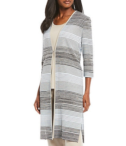 Misook 3/4 Sleeve Striped Ombre Duster