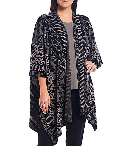 Misook Animal Print 3/4 Sleeve Handkerchief Hem Open Front Wrap