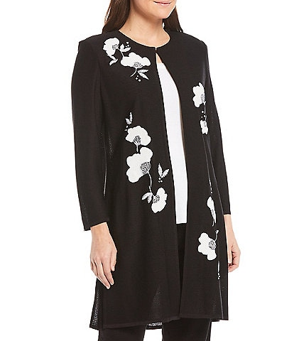 Misook Crew Neck 3/4 Sleeve Embroidered Duster