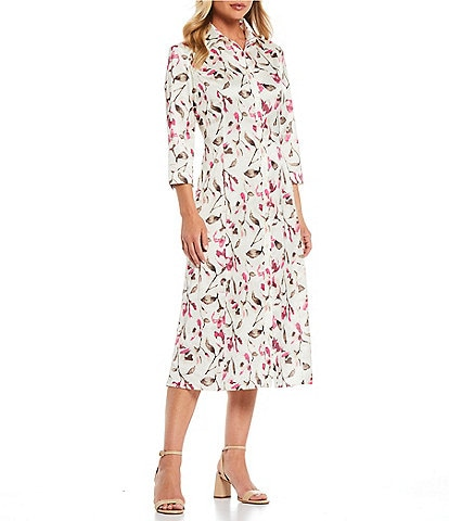 Misook Floral Button Front Midi Shirtdress