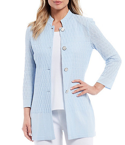 Misook Long Sleeve Notch Neck Jacket With Gold Misook Buttons