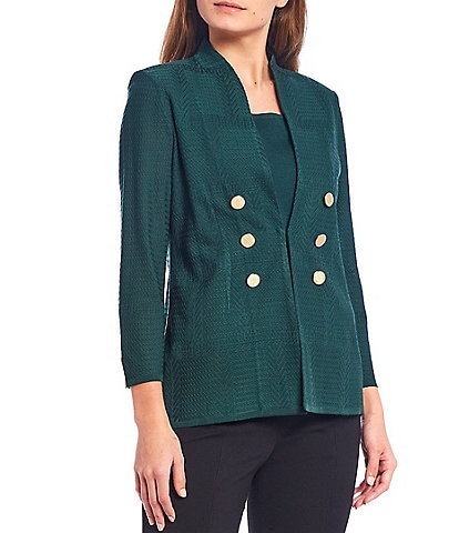 Misook Modified Mandarin Collar 3/4 Sleeve Button Detail Military Jacket