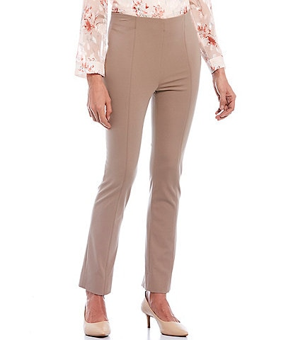Misook Ponte Flat Front Pull-On Ankle Pants
