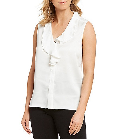 Misook Ruffle Trim V-Neck Washable Sleeveless Blouse