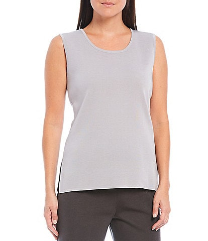 Misook Sleeveless Scoop Neck Side Slit Tank