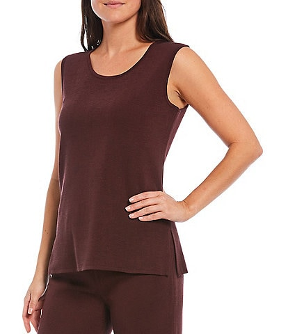 Misook Sleeveless Scoop Neck Side Slits Tank