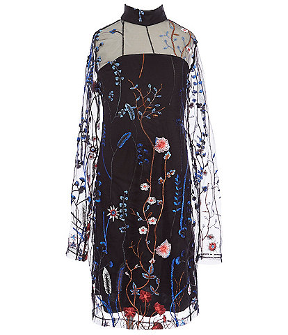 Miss Behave Big Girls 8-14 Portia Floral Embroidered Long Sleeve Sheath Dress
