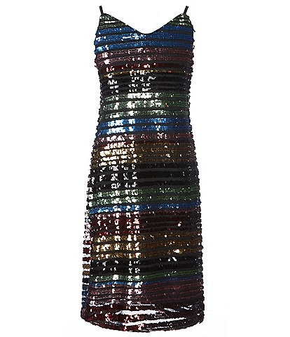 Miss Behave Big Girls 8-14 Sandy Sequin Stripe Shift Dress
