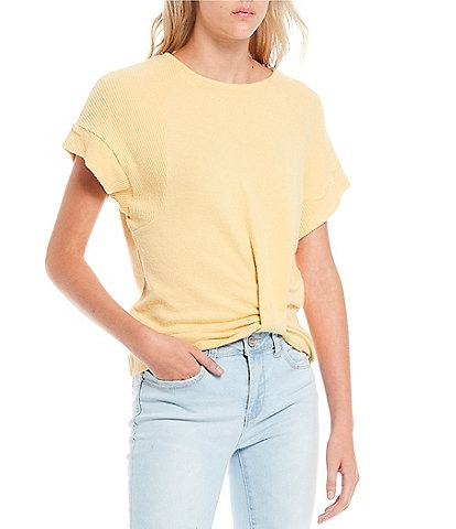 Miss Chievous Hacci Twist Front Short Sleeves Top