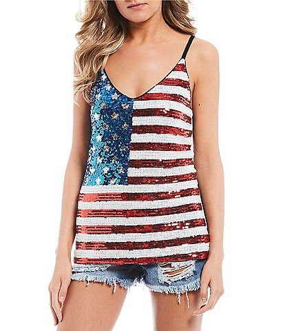 Miss Chievous Sequin Flag Cami