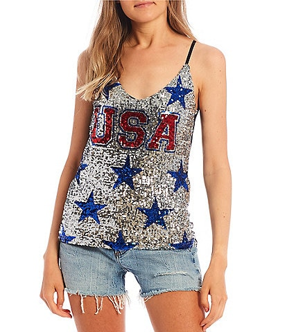 Miss Chievous Sequin USA Cami Top