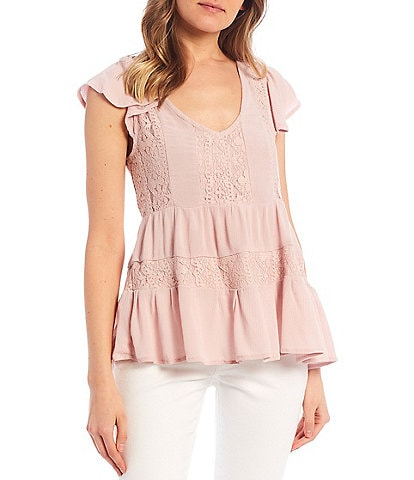 Miss Chievous Short Flutter Sleeve Contrast Lace Woven Babydoll Top