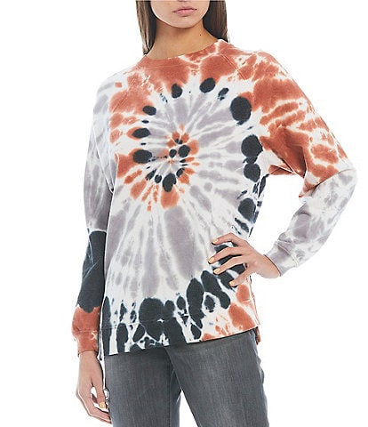 Miss Chievous Spiral Tie Dye Long Sleeve Tunic Top