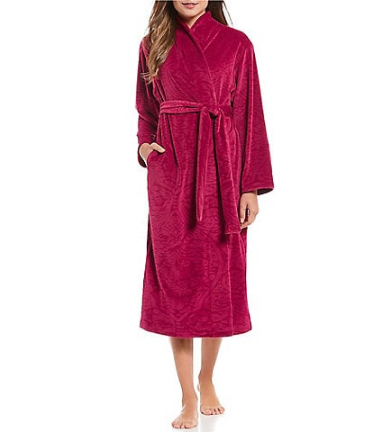 Miss Elaine Brocade Micro Fleece Long Wrap Robe