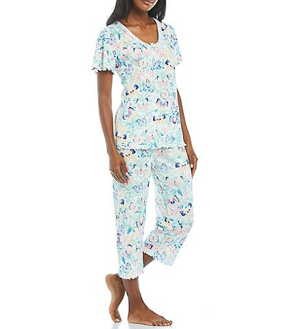 Miss Elaine Butterfly Print Knit Coordinating Pajama Set