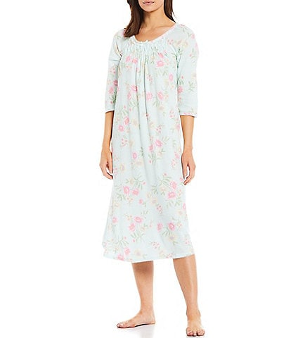 Miss Elaine Cottonessa Floral Print Knit Long Nightgown