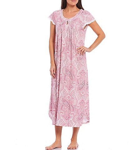 Miss Elaine Cottonessa Paisley-Print Long Nightgown
