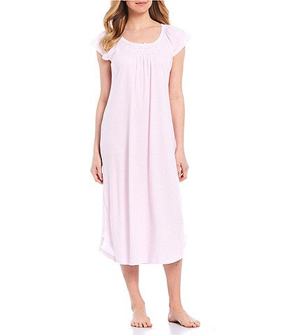 Miss Elaine Cottonessa Striped-Print Knit Long Nightgown