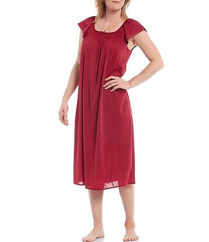 Miss Elaine Embroidered Flutter-Sleeve Round Neck Midi Nightgown