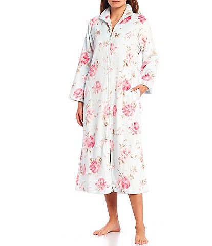 Miss Elaine Floral Print French Fleece Long Zip-Front Robe
