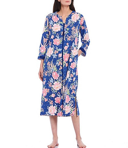 Miss Elaine Floral Print Interlock Knit Zip Front Long Robe