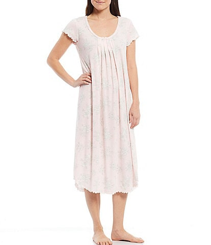 Miss Elaine Floral Print Soft Knit Long Nightgown