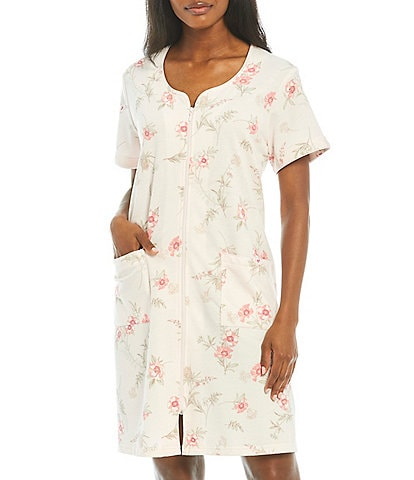 Miss Elaine Floral Print Zip-Front French Terry Short Robe