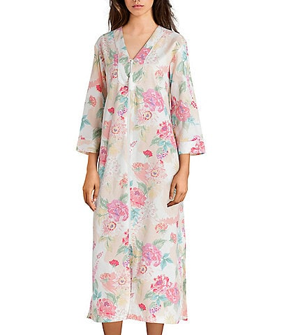 Miss Elaine Floral-Printed Sateen Long Zip-Front Robe c9c60f689
