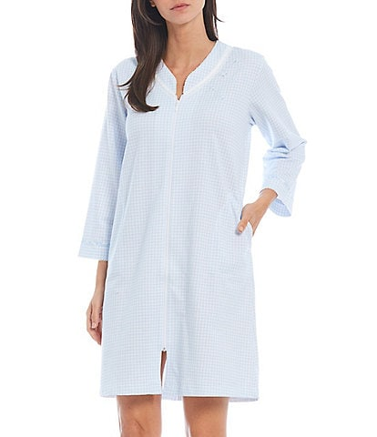 Miss Elaine Gingham Checked Print V-Neck 3/4 Sleeve French Terry Zip-Front Short Robe