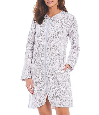 Miss Elaine Leopard Print French Terry Zip-Front Round Neck Long Sleeve Short Robe