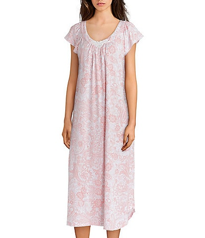 Miss Elaine Luxe Knit Paisley-Print Long Nightgown