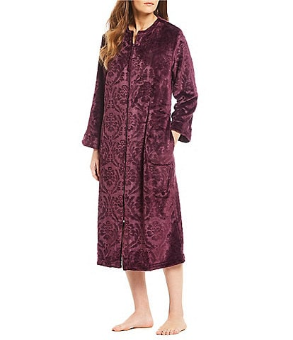 Miss Elaine Petite Damask French Fleece Long Zip-Front Robe