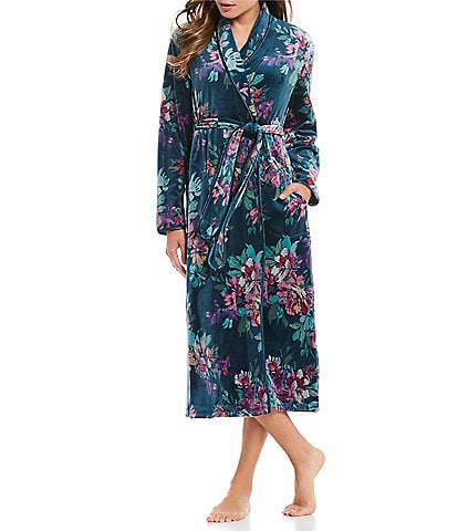 Miss Elaine Petite Floral-Printed Velvet Fleece Long Wrap Robe
