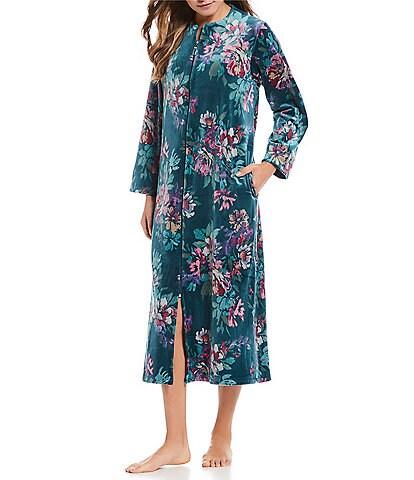 Miss Elaine Petite Floral-Printed Velvet Fleece Zip-Front Robe