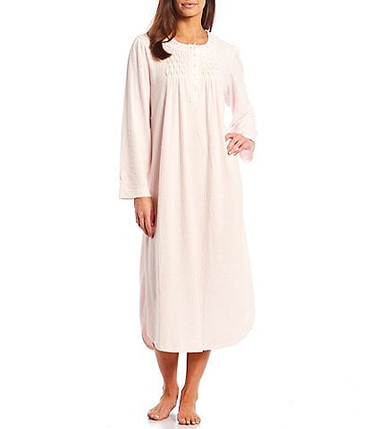 Miss Elaine Petite Honeycomb Knit Diamond Yoke Round Neck Long Sleeve Nightgown