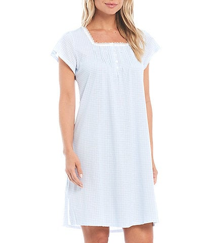Miss Elaine Petite Silky Knit Square Neck Short Sleeve Checked Print Short Nightgown
