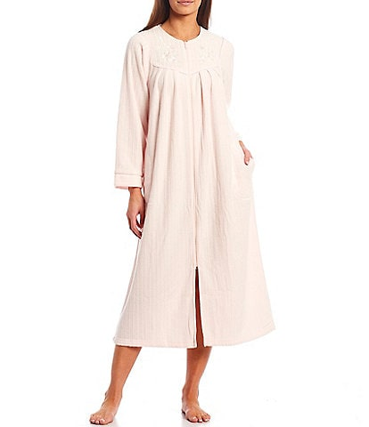 Miss Elaine Petite Size Solid Brushed Back Terry Round Neck Long Sleeve Zip Front Robe