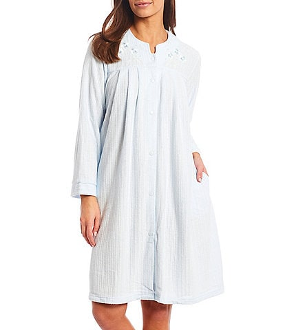 Miss Elaine Petite Solid Brushed Back Terry Grip Front Short Robe