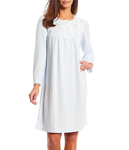 Miss Elaine Petite Solid Knit Long Sleeve Button Placket Short Nightgown