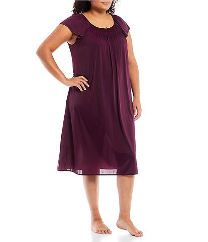 Miss Elaine Plus Embroidered Flutter Sleeve Round Neck Nightgown