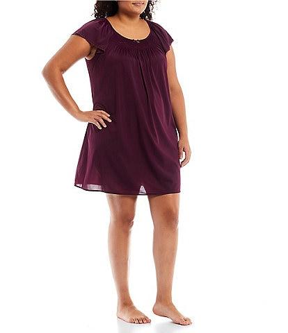 Miss Elaine Plus Round Neck Short Flutter Sleeve Embroidered Nightgown