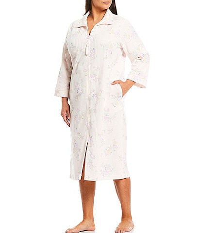 Miss Elaine Plus Floral Print Quilt-In-Knit Zip-Front Long Robe